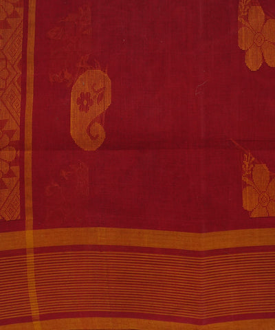 Red Orange Handloom Salem Cotton Saree