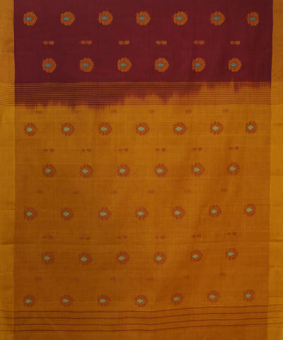 Maroon Yellow Handwoven Salem Cotton Saree