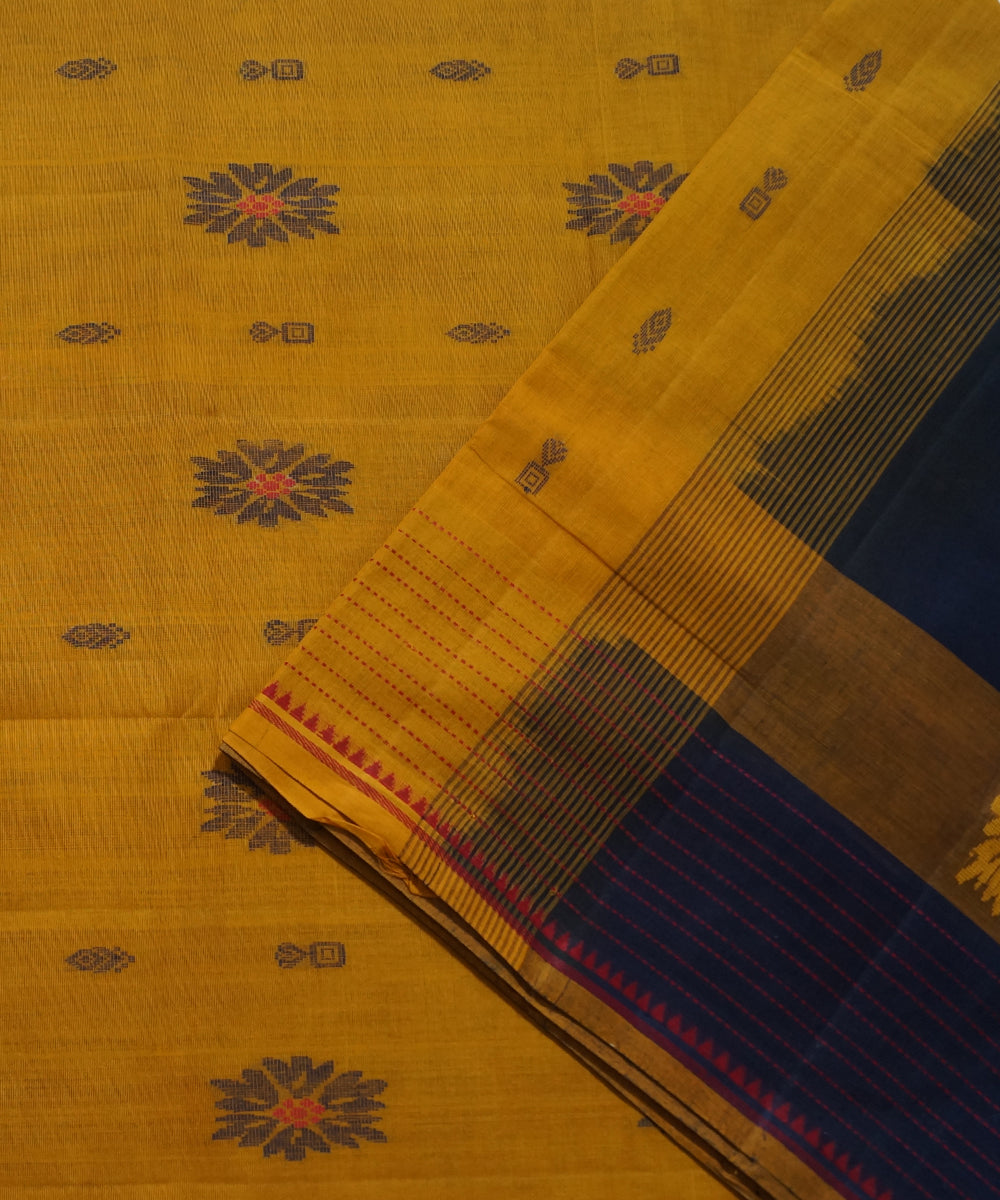 Navy Blue Brown Handwoven Salem Cotton Saree