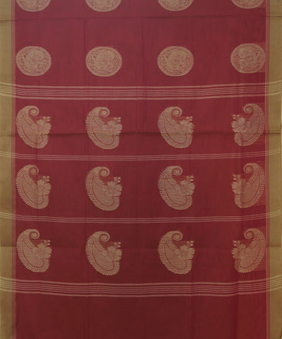 Light Red Handwoven Salem Cotton Saree