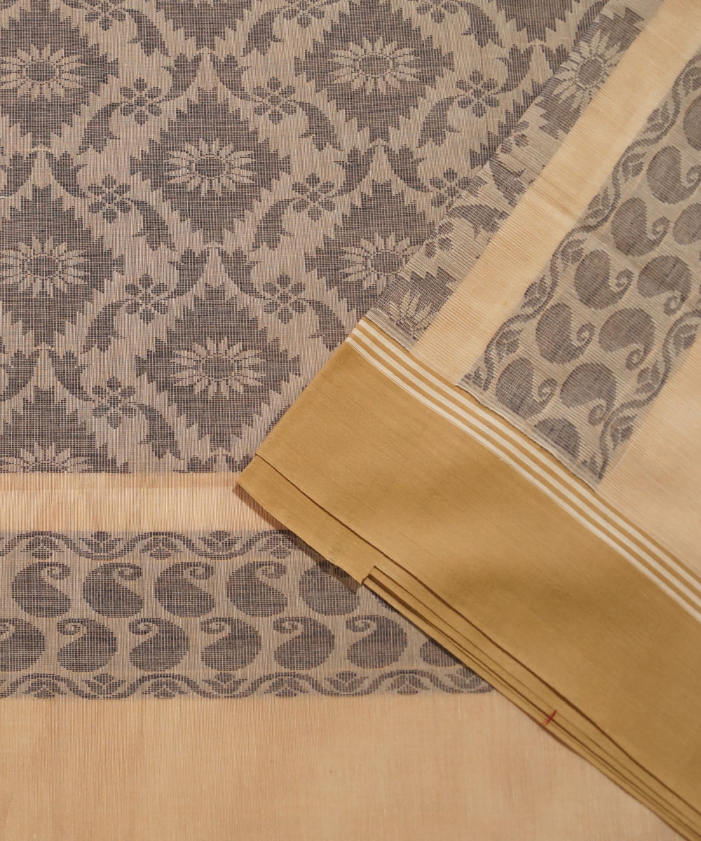 Beige Handwoven Salem Cotton Saree