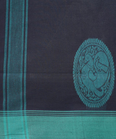 Black Cyan Handloom Salem Cotton Saree
