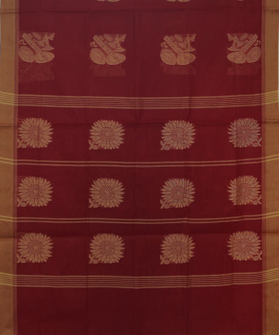 Maroon Handwoven Salem Cotton Saree