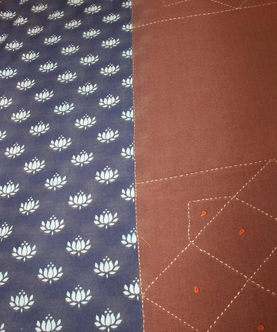 Brown handblock printed and threadwork double cotton bedsheet