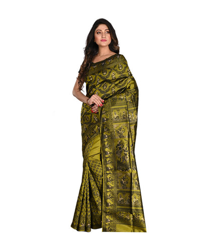 Bengal Handloom Green Black Baluchari Saree