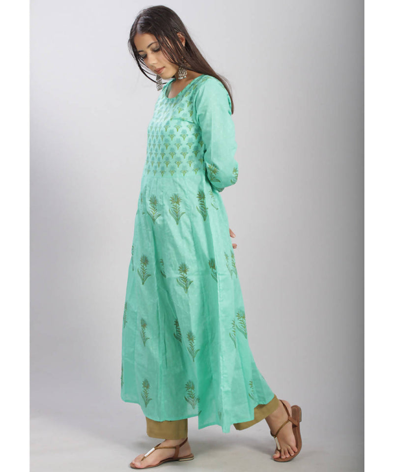 Turquoise hand block printed anarkali cotton kurti