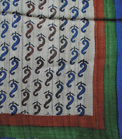 Off White Blue Handloom Printed Tussar Stole