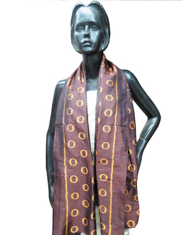 Brown Sambalpuri Silk Stole