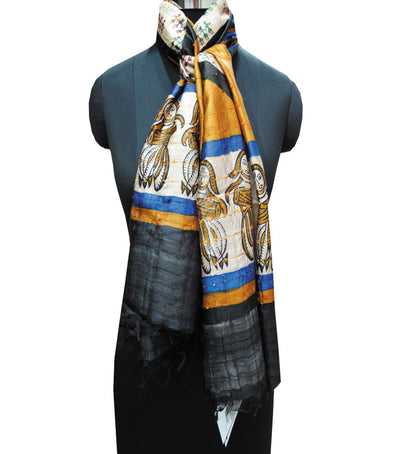 Exclusive Off White And MaroonGreen Tribal Printed Tussar Silk Stole