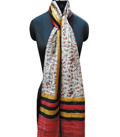 Exclusive Off White And RedGolden Tribal Printed Tussar Silk Stole