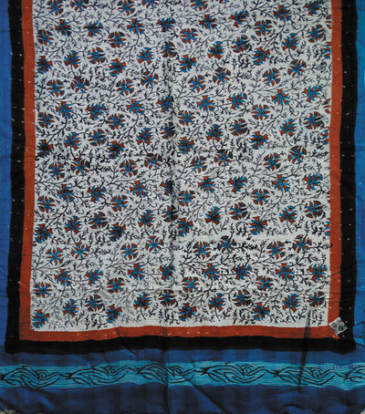 Exclusive BlackCopper Sulphate And Rust Traditional Printed Tussar Silk Stole