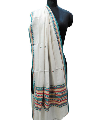 Traditional Cream And Green Dongaria Cotton Dupatta
