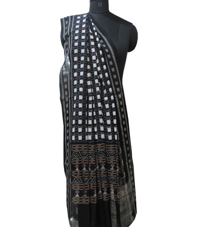Traditional Black And White Ikat tie And dye Cotton Dupatta