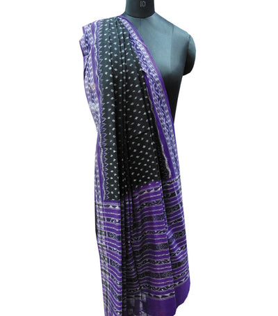 Traditional Black And Violet Ikat tie And dye Cotton Dupatta