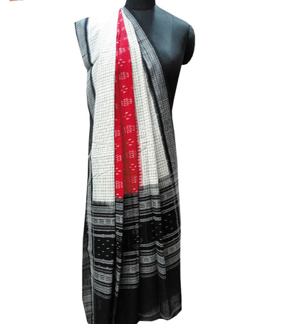 Exclusive Traditional RedWhite And Black Ikat tie And dye Cotton Dupatta