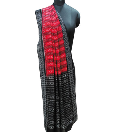Exclusive Traditional Red And Black Ikat tie And dye Cotton Dupatta