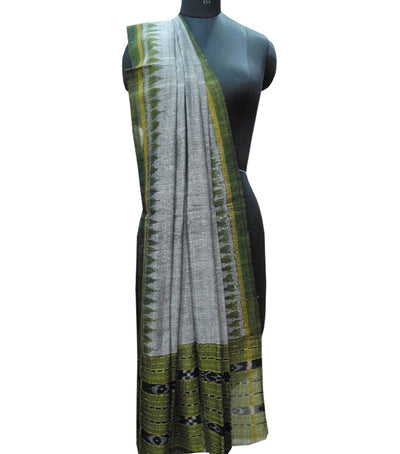 Exclusive Gray And Apple Green Traditional Ikat tie And dye Cotton Dupatta