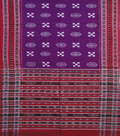 Traditional Purple And Maroon Sambalpuri Pasapalli Ikat tie And dye Cotton Stole