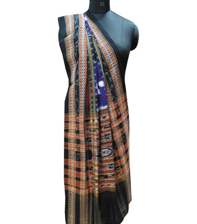Traditional Ink Blue And Black Bichitrapuri Pasapalli Ikat tie And dye Cotton Stole