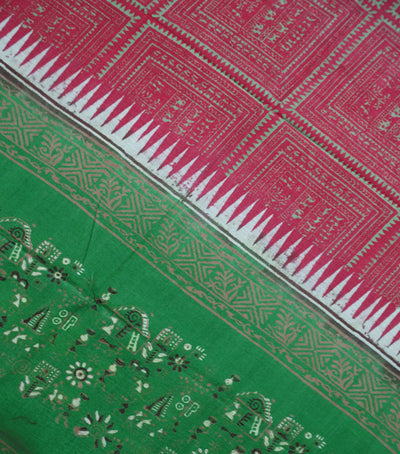 Exclusive Red And Apple Green Traditional Printed Tussar Silk Dupatta