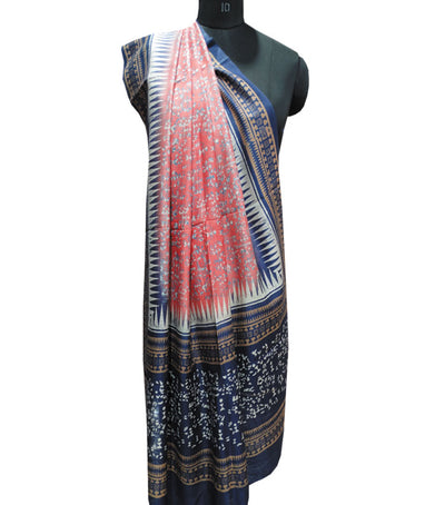 Exclusive Candy Pink And Catalina Blue Traditional Printed Tussar Silk Dupatta
