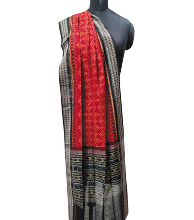 Exclusive Traditional MaroonBlack And Fluorescent Orange Ikat tie And dye Cotton stole