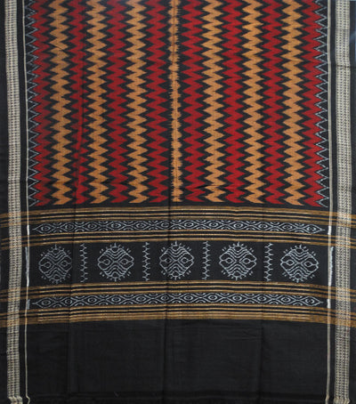 Exclusive Traditional Black Maroon And Dark Goldenrod Traditional Ikat tie And dye Cotton Dupatta