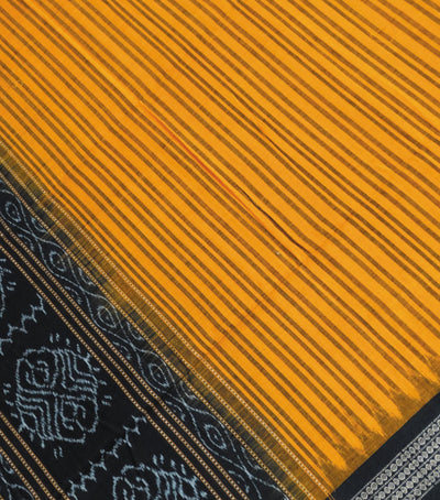Exclusive Traditional Deep Saffron And Black Traditional Ikat tie And dye Cotton Dupatta