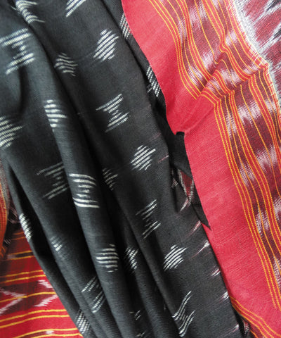 Black and Maroon Sambalpuri Cotton Dupatta