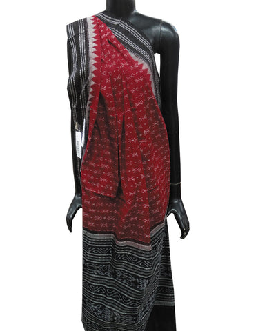 Maroon and Black Sambalpuri Cotton Dupatta