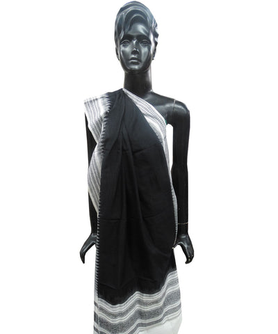 Black and White  Sambalpuri Cotton Dupatta