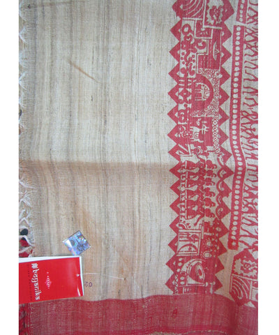 Cream and Red Tussar Stole