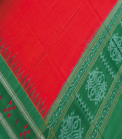 Exclusive Traditional Sinduri Red And Forest Green Pasapali border Traditional Ikat tie And dye Cotton Dupatta