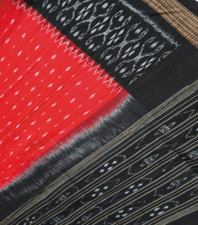 Exclusive Traditional Dark Red And Black Traditional Ikat tie And dye Cotton Dupatta