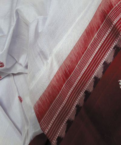 White and Red Ikat Handloom Cotton Dupatta