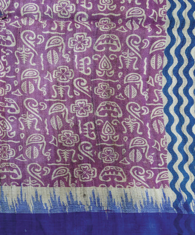 Blue and Purple Tribal Tussar Stole