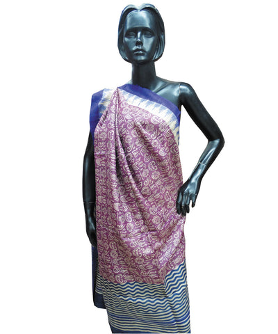 Purple and Blue Tribal Tussar Stole