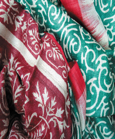 Green and Maroon Tussar Stole