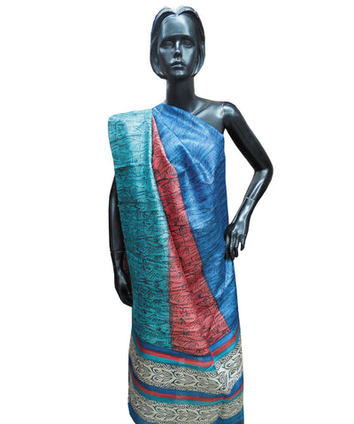 Blue and Maroon Tussar Stole