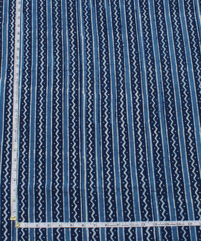 Indigo Striped Dabu Block Print Cotton Fabric