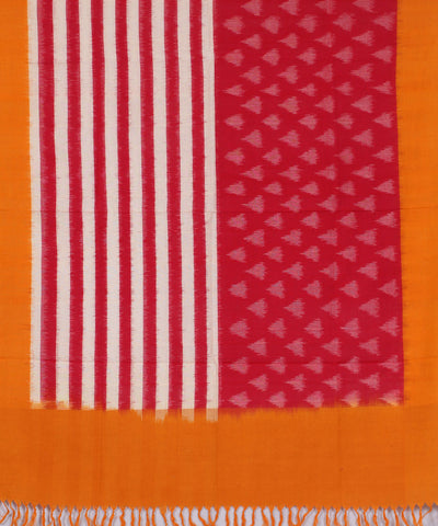 Red and Yellow Handwoven Pochampally Cotton Dupatta