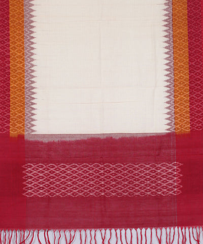Cream Handwoven Pochampally Cotton Dupatta