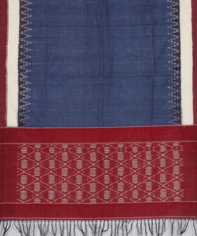 Blue and Red Handwoven Pochampally Cotton Dupatta