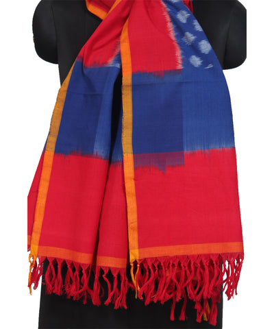 Pochampally Blue and Red Handwoven Cotton Dupatta