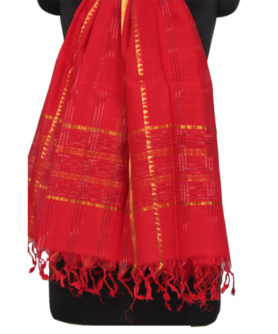 Mangalgiri Red Cotton Dupatta