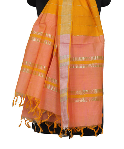 Mangalgiri Peach Cotton Dupatta