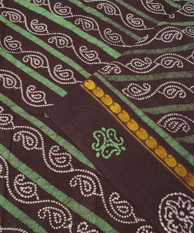 Sungudi Dark Brown Cotton Madurai Saree