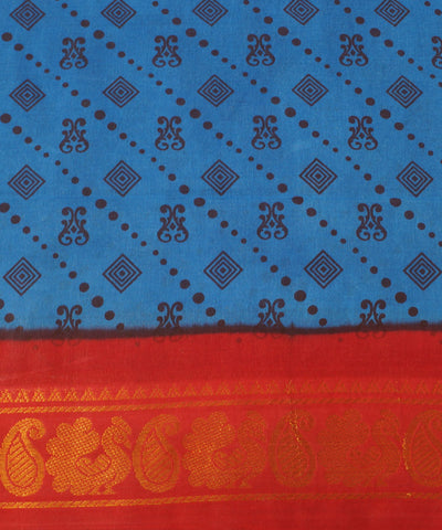 Sungudi Blue Red Cotton Madurai Saree