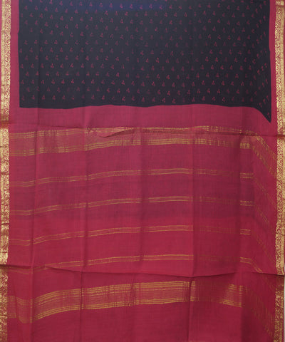 Sungudi Black Pink cotton Madurai Saree