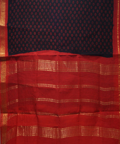 Loom World Sungudi Brown and Red Printed Cotton Saree